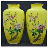 Pair of Japanese Sato Cloisonne Mantle Vaes
