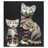 2 pcs. Royal Crown Derby Porcelain Cats