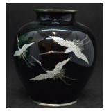 Vintage Japanese Sato Cloisonne Crane Vase
