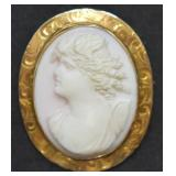 Antique 10k Gold Cameo Brooch