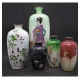 5 pcs. Antique Japanese Gilloche Enamel Vases