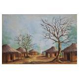 E.M. Ilunga African Village Scene O/C