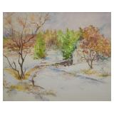 H. Wier Watercolor Autumn Landscape