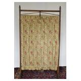 Antique Wood & Cloth Fire Screen