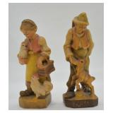 2 pcs. Vintage Hand Carved German Figures