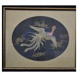 Antique Chinese Silk Embroidery Phoenix Panel