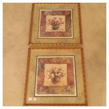 (2) Floral Framed Prints - Roses & Tulips