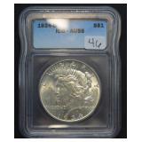 1934 D Peace Dollar AU 58