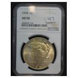 1934 Peace Dollar AU 58