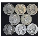 8 pcs. Silver Washington Quarters