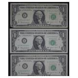 3pcs. 1963 B $1 Barr Notes