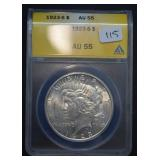 1923 S Peace Dollar AU 55