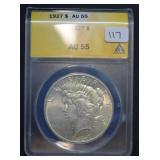 1927 Peace Dollar AU 55