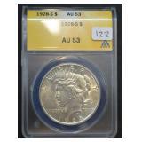 1928 S Peace Dollar AU 53