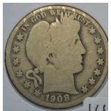 1908 D Silver Barber Half Dollar