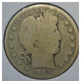 1907 Silver Barber Half Dollar
