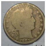 1907 O Silver Barber Half Dollar