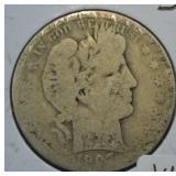 1907 S Silver Barber Half Dollar