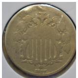 1867 Shield Nickel w. Rays