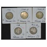 5 pcs. Silver Barber Quarters