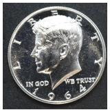 1964 Kennedy Half Dollar Proof - Accented Hair