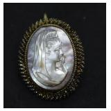Antique German Silver Mother of Pearl Cameo