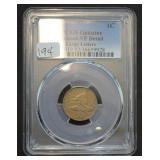 1858 Flying Eagle Cent PCGS Genuine Cleaned - VF