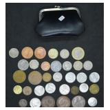 Vintage Change Purse Full of Vtg. Foreign Coinage