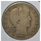 1905 S Barber Half Dollar