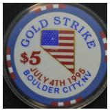 1995 Boulder City, NV Gold Strike $5 Poker Chip