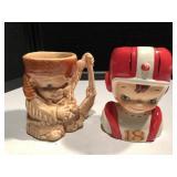 Davy Crockett & Football Boy Head Vase