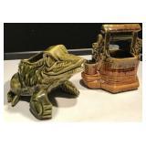 McCoy Frog & Wishing Well Planters