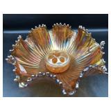 Carnival Glass Ruffled Bowl & Flower Frog