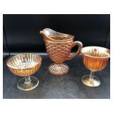 Carnival Glass Pitcher/Wine Glass/Vase