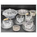 Crystal Lidded Candy Dish, Heisey Cup & Saucer & M