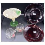 Handpainted Compote, Cream/Sugar & Plates