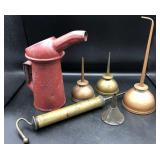 Collection of Oil Cans & Hand Pump Oiler