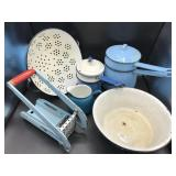 Vintage Blue Enamel Kitchen Items