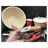 Vintage Red Kitchen Utensils and more