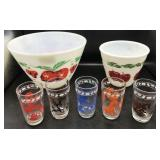Vintage Fireking Mixing Bowl and Juice Glasses