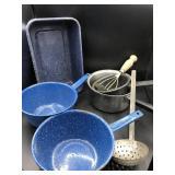 Vintage Blue Enamelware Pans and more
