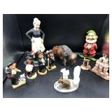 Collection of Figuines, Bisque Buffalo, Woman