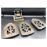 3 Antique Iron Trivets/Stands & Liberty Bell
