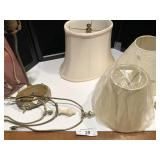 Collection of lamp shades and parts