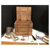 Wooden Box with Vintage Kitchen Utensils