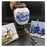 Blue Delft Coffee Grinder & Tiles