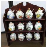 Lenox Jelly Jars w/spoons w/Curio Cabinet