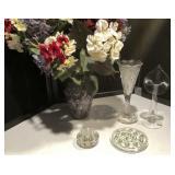 Glass Flower Frogs/Leaded Crystal Vase & More