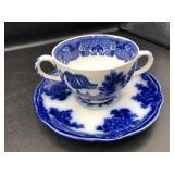 Flow-Blue (Temple) 2-Handle Cup & Saucer