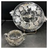 Silver Overlay Bowl and Platter
